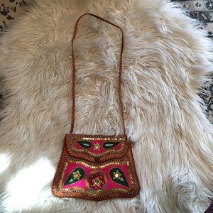 Vintage Leather Embroidered Purse Satchel